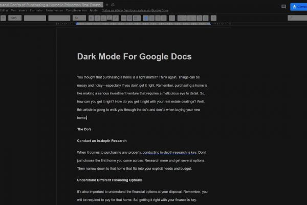 google docs dark mode